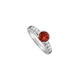 LoveBrightJewelry Garnet and Cubic Zirconia Ring in 14K White Gold