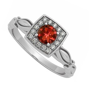 LoveBrightJewelry Garnet And Cubic Zirconia Ring In 925 Sterling Silver