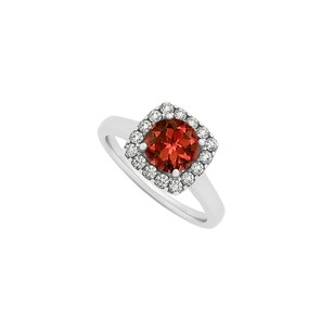 LoveBrightJewelry Garnet And Cz Halo Engagement Ring In Sterling Silver January Birthstone Stunning Design
