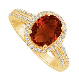 LoveBrightJewelry Garnet and CZ Halo Ring in 18K Yellow Gold Vermeil