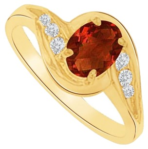 LoveBrightJewelry Garnet and CZ Semi Swirl Ring in Yellow Gold Vermeil