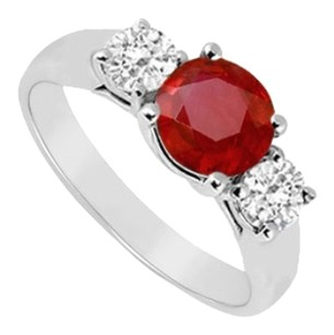 LoveBrightJewelry GF Bangkok Ruby and Cubic Zirconia Three Stone Ring 925 Sterling Silver 0.50 CT TGW