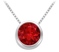LoveBrightJewelry GF Bangkok Ruby Bezel Set Solitaire Pendant 925 Sterling Silver 1.00 Carat Total Gem Weight