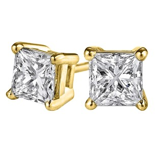 LoveBrightJewelry Glittering 4 Prong Set Princess Cut Diamond studs