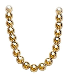 LoveBrightJewelry Gold Beads Necklace on Chain with 10MM Yellow Gold Beads