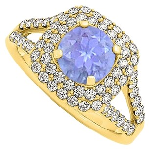 LoveBrightJewelry Tanzanite Cubic Zirconia Halo Engagement Ring 1.50 TGW
