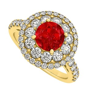 LoveBrightJewelry Gorgeous Gift Ruby And Cz Engagement Ring 2.00 Tgw