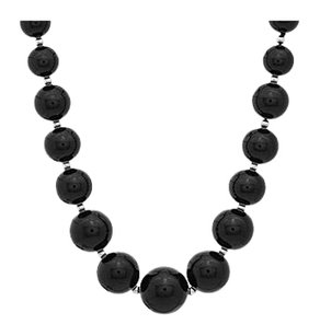 LoveBrightJewelry Graduated Black Onyx with Beads Necklace 18 Inch and a 14K White Gold Lobster Clasp