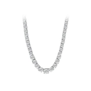 LoveBrightJewelry Graduated necklace with 16 carat CZ tennis in 14k white gold