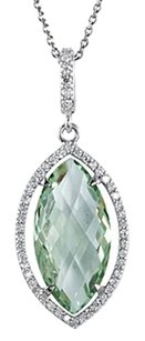 LoveBrightJewelry Green Quartz Marquise with Diamond Pendant in Sterling Silver Halo Styled 18 Inch Necklace