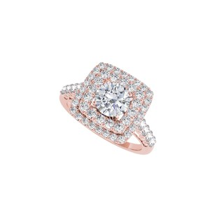 LoveBrightJewelry Halo 14K Rose Gold Vermeil Ring with Cubic Zirconia