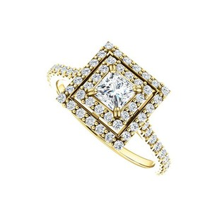 LoveBrightJewelry Halo Cubic Zirconia Engagement Ring With Double Halo In 18k Yellow Gold Vermeil 1.00 Ct Tgw