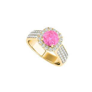 LoveBrightJewelry Halo Cz Pink Sapphire Ring In 18k Yellow Gold Vermeil
