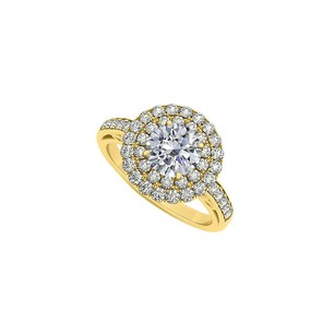 LoveBrightJewelry Halo Double Circle Cubic Zirconia April Birthstone14k Yellow Gold Engagement Ring