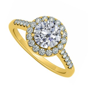 LoveBrightJewelry Halo Engagement Ring Prong Set Round Cubic Zirconia 18k Yellow Gold Vermeil
