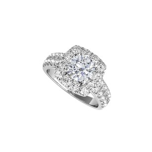 LoveBrightJewelry Halo Engagement Ring with Natural Diamond in White Gold