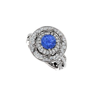 LoveBrightJewelry Halo Engagement Rings With Sapphire Cz Double Halo In 14k White Gold 2.00 Ct Tgw