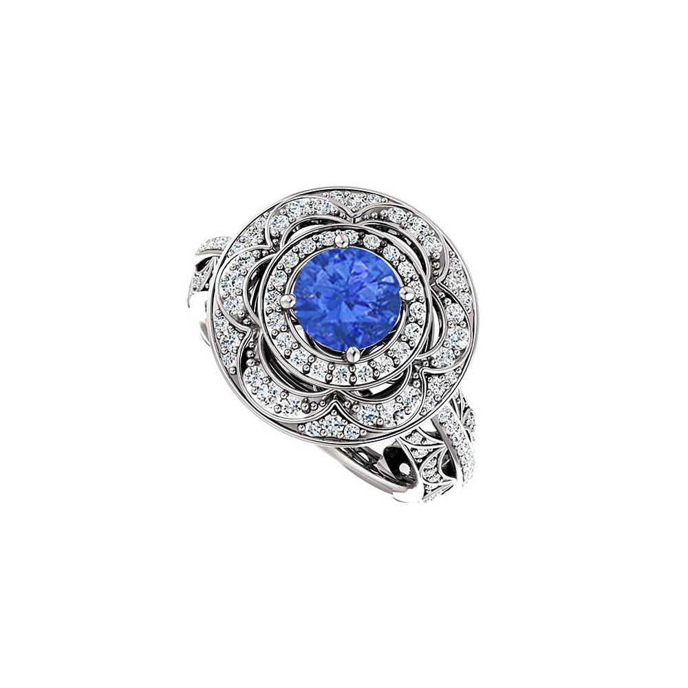 LoveBrightJewelry Halo Engagement Rings With Sapphire Cz Double Halo In 14k W