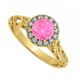 LoveBrightJewelry Halo Filigree Engagement Ring With Pink Sapphire In 18k Yellow Gold Vermeil 0.66 Ct Tgw