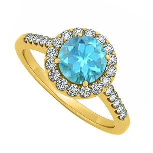 LoveBrightJewelry Halo Four Prong Set December Blue Topaz And Cubic Zirconia April Birthstone Engagement Ring
