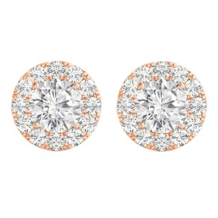LoveBrightJewelry Halo Stud Earrings with CZ in 14K Rose Gold Jewelry