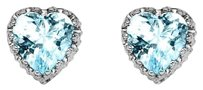 LoveBrightJewelry Heart Shape Sky Blue Topaz 925 Silver Stud Earrings