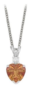 LoveBrightJewelry Heart Shaped Smoky Quartz and Cubic Zirconia Pendant Necklace in Sterling Silver.1.02ct.tw