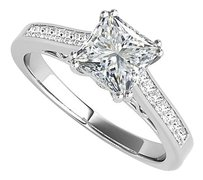 LoveBrightJewelry Impressive Princess Cut CZ Engagement Ring 925 Silver