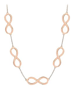 LoveBrightJewelry Infinity Link Necklace Vermeil with 14K Rose Gold Sterling Silver 17 Inch Length