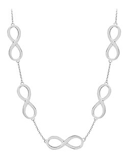 LoveBrightJewelry Infinity Necklace in 14K White Gold 17 Inch Long