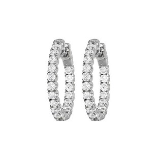 LoveBrightJewelry Inside Out Diamond Hoop Earrings for Women in 14K White Gold 1 CT TDW