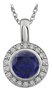 LoveBrightJewelry Intense Blue and White Cubic Zirconia 18 Inch Pendant