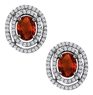 LoveBrightJewelry January Birthstone Garnet Oval Halo Earrings with CZ in 925 Sterling Silver