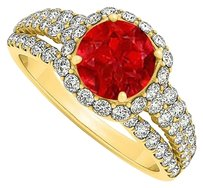 LoveBrightJewelry July Birthstone Ruby and Cubic Zirconia Split Shank Halo Engagement Ring 18K Yellow Gold Vermeil