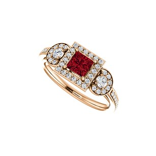 LoveBrightJewelry July Gem Ruby and Diamonds Unique Style Ring in Gold