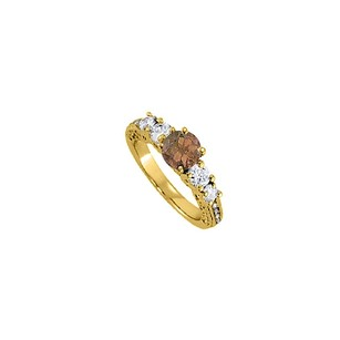 LoveBrightJewelry June Birthstone Smoky Quartz And Cz Five Stones Engagement Ring In 18k Yellow Gold Vermeil
