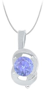 LoveBrightJewelry Knot pendant in Sterling Silver with December Birthstone Created Tanzanite 0.50 CT TGW