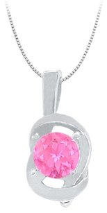 LoveBrightJewelry Knot pendant in Sterling Silver with September Birthstone Created Pink Sapphire 0.50 CT TGW