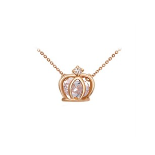 LoveBrightJewelry Ladies Statement Gems Crown Pendant Necklace Rose Gold