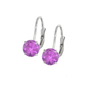 LoveBrightJewelry Leverback Earrings in 14K White Gold with Amethyst Gemstone 2.00 CT