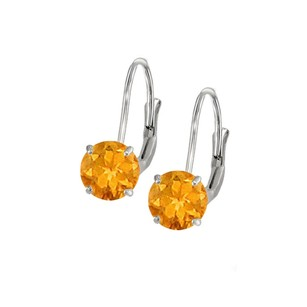 LoveBrightJewelry Leverback Earrings In 14k White Gold With Citrine Gemstone 2.00 Ct Tgw Perfect Jewelry Gift