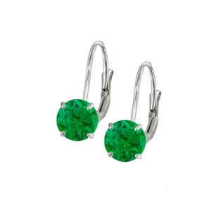 LoveBrightJewelry Leverback Earrings in 14K White Gold with Emerald Gemstone