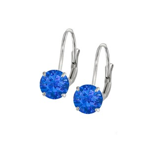 LoveBrightJewelry Leverback Earrings in 14K White Gold with Sapphire Gemstone