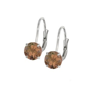 LoveBrightJewelry Leverback Earrings in 14K White Gold with Smoky Quartz Gemstone