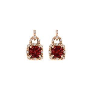 LoveBrightJewelry Lock Design CZ Ruby Square Earrings Rose Gold Vermeil