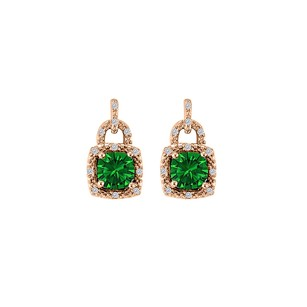 LoveBrightJewelry Lock Design Emerald CZ Earrings 14K Rose Gold Vermeil