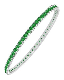 LoveBrightJewelry Man Made 3 CT Emerald Eternity Bangle in 14K White Gold