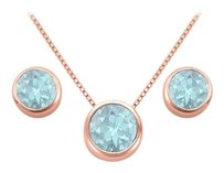 LoveBrightJewelry March Birthstone Aquamarine Pendant and Stud Earrings Set in 14K Rose Gold Vermeil