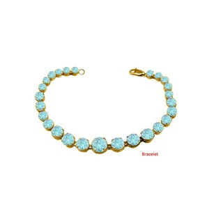 LoveBrightJewelry March Birthstone Prong Set Aquamarine Bracelet in 18kt Yellow Gold