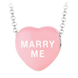 LoveBrightJewelry Marry Me Light Pink Heart Pendant Necklace Sweethearts Collection Valentine Day